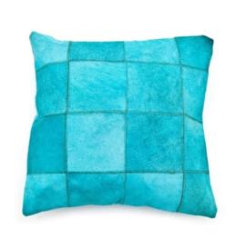 Kussen ByBoo Patchwork Leer 45x45cm Turquoise