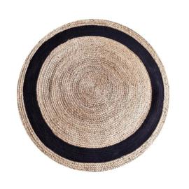 Carpet Jute round 120 cm - natural black