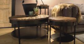 Salontafel rond hout/metaal