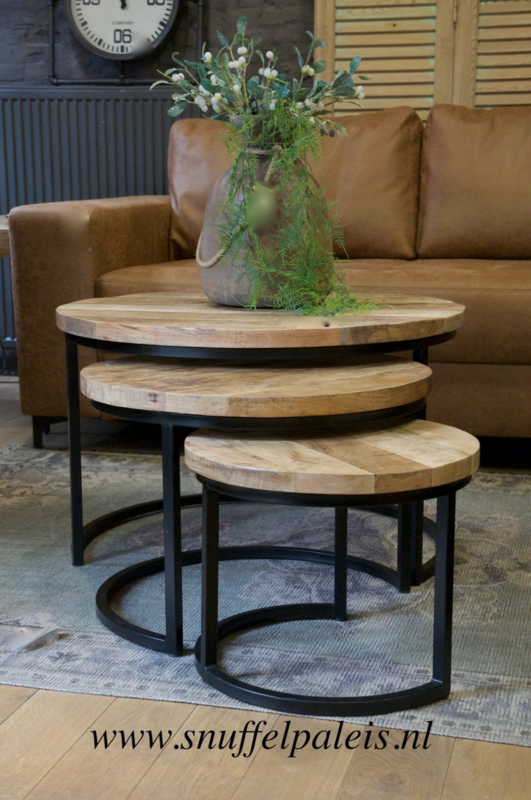 3-delige tafelset mangohout en metaal