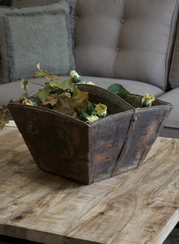 Oude houten plukbak