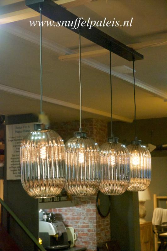 4-lamps hanglamp glass