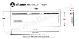 Aflamo Majestic 72 - Elektrische inbouw sfeerhaard 182cm
