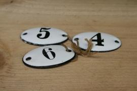 Set van 3 emaille nummerplaatjes 4, 5 en 6 (art.nr. 257)