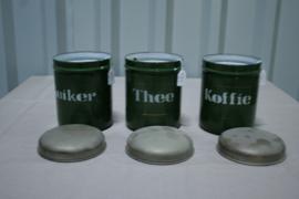 Set Koffie Thee Suiker donker groen met een biesje