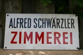 Emaille bedrijfsnaambord Alfred Schwärzler Zimmerei (art.nr. 252)