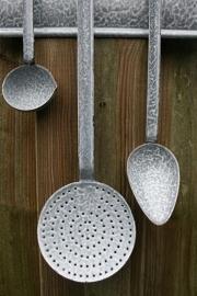 Emaille lepelrek grijs gewolkt met juslepel, opscheplepel en schuimspaan