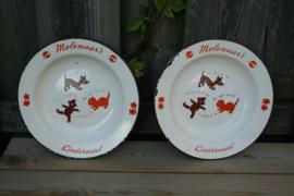 Set van 2 emaille kinderbordjes Molenaar's Kindermeel Ø 21 cm