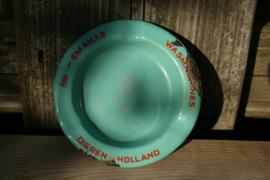 Reclame mini asbakje Edy-Emaille wasmachines Dieren-Holland mint kleur met rode opdruk