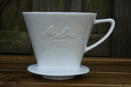 Melitta koffiefilterhouder porselein geheel wit nr. 102 met 1 gaatje
