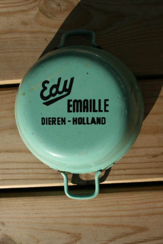 "Reclame mini pannentje met dekseltje met ""Edy Emaille Dieren-Holland"" opdruk"