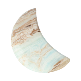 Caribbean blue calciet halve maan, 14 x 9 x 2 cm