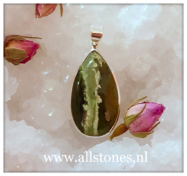 Groene Chalcedoon Opaal hanger, zilver,  afmeting 3,9 x 2,2 cm