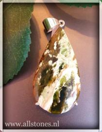 Groene Chalcedoon Opaal hanger, zilver