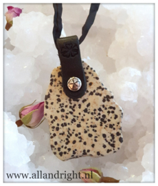 PimpsandPearls Dalmatiër  jaspis ketting, ca. 4,5 x 3,5 cm