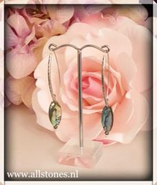 Abalone schelp oorhangers, zilver