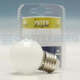 INTERLIGHT LED 230V E27  0,6W KOGELLAMP KLEUR ROOD