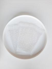 Transparante zakjes witte stip | 10 stuks
