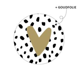 Sticker hart goud met zwart stippen | 10 stuks