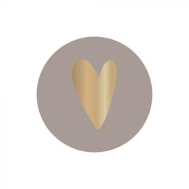 Sticker gouden hartje grijs | 10 stuks
