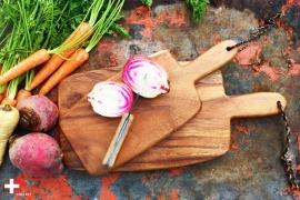 Acaciahouten snijplank | snackplank met handvat medium