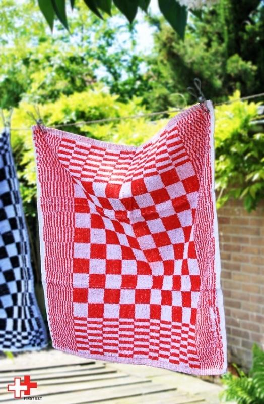Handdoek rood wit ruit