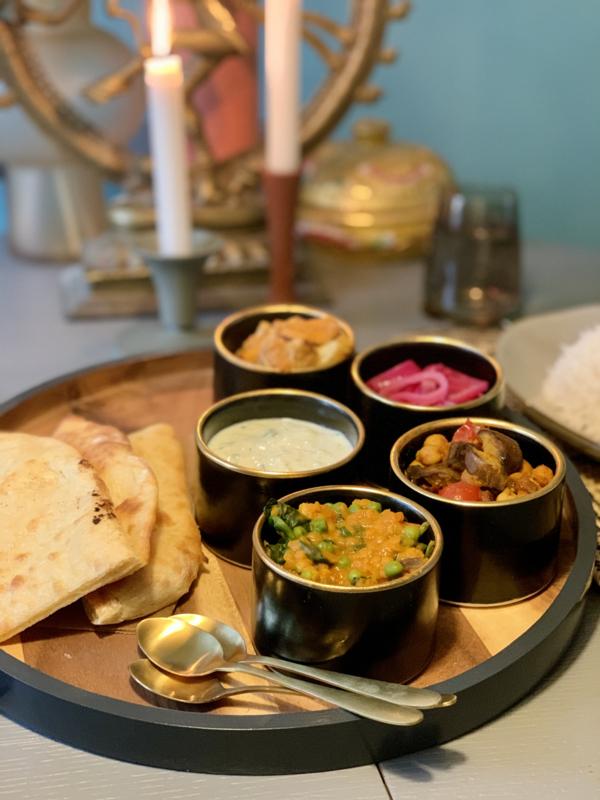 Week 14   Thuis Indian Thali eten - vegan