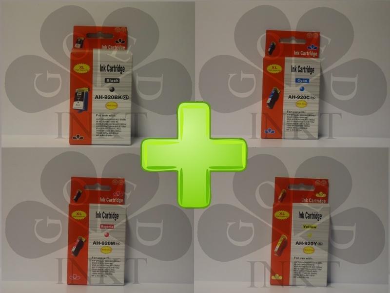 HP 920XL Set Zwart + Cyaan + Geel + Magenta