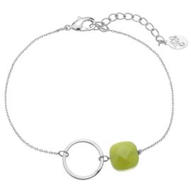 Armband cirkel zilver groen