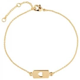 Armband goud hartje