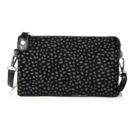 Clutch tas cheetah croco zwart