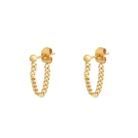 Oorbellen chain stud goud