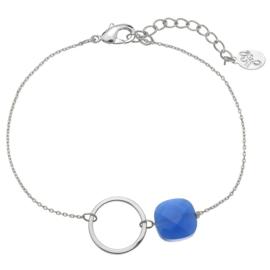 Armband cirkel zilver blauw