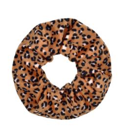 Scrunchie fluffy luipaard bruin