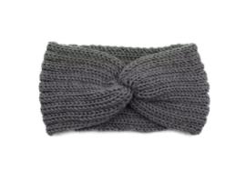 Hoofdband winter knot grijs