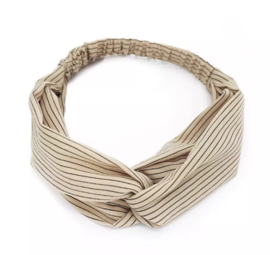 Haarband streepjes beige