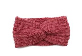Hoofdband winter knot roze