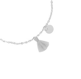 Armband kwastje zilver grijs