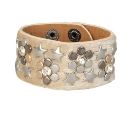 Armband studs fluffy ster beige
