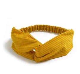 Haarband ribbel oker geel