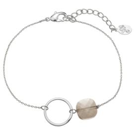 Armband cirkel zilver grijs