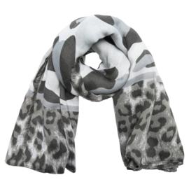 Sjaal luipaard grijs