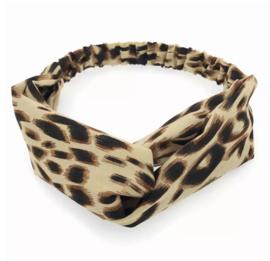 Haarband luipaard beige