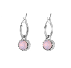 Creolen sparkle roze zilver