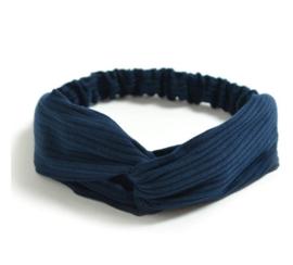 Haarband ribbel blauw