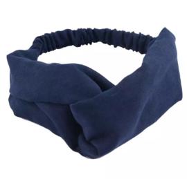 Haarband suede blauw