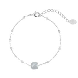 Armband beads zilver lichtgrijs