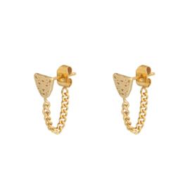 Oorbellen chain luipaard goud