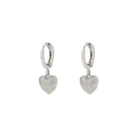 Creolen hart zilver