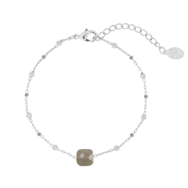 Armband beads grijs zilver